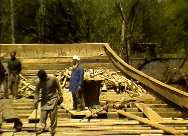 House boat building on the lake